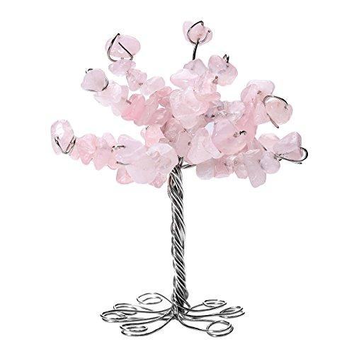 QGEM Rose Quartz Crystal Tumbled Stone Money Tree Gift Holder Office Table Feng Shui Decoration for GOOD LUCK!]()