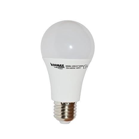 Kormax Bombilla LED Luz Fría E27, 12 W, Blanco