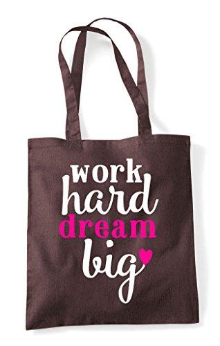 Brown Statement Hard Work Big Shopper Bag Tote Dream Motivational q8c1xSA