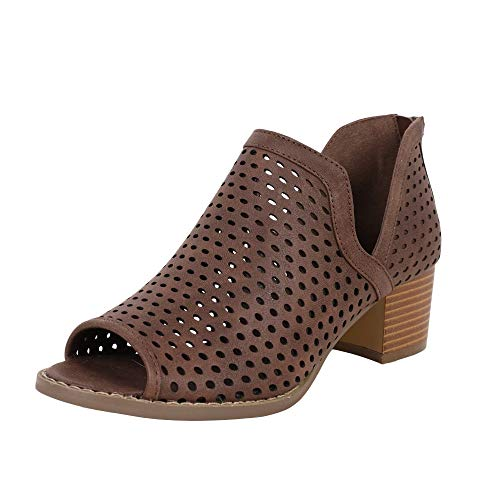 Back Zipper Boots Tall - Nailyhome Womens Perforated Booties Ankle V Cutout Block Chunky Low Heel Back Zipper Boots Brown