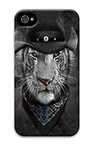 Cowboy White Tiger Polycarbonate Hard Case Cover for iPhone 4/4S 3D