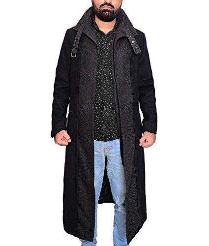 Abbraci Killer Men's Trench Winter Wool Long Classic Altered Coat (Medium, Black)