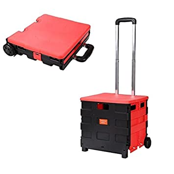 office trolley cart. Folding Trolley Cart With 2 Wheels Folded Collapsible Handcart For Shopping Travel [US Stock] Office L