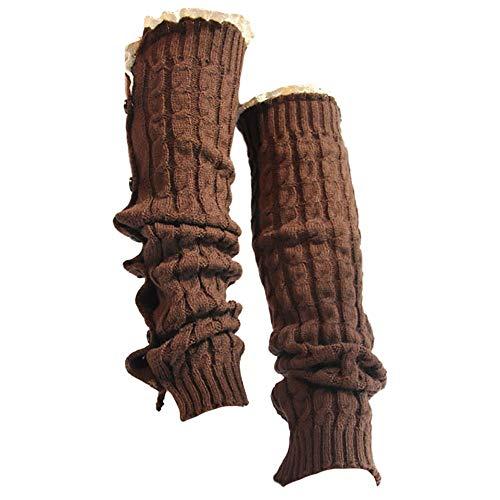 Women Crochet Lace Trim Button Braid Leg Knit Warmer Boot High Knee Socks ()