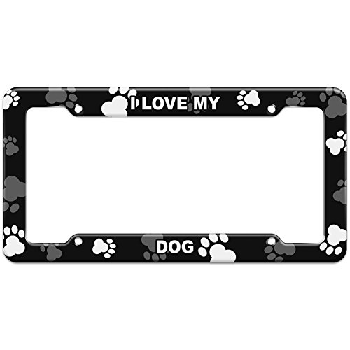 Graphics and More Paw Prints License Plate Frame I Love My C-F - Dog