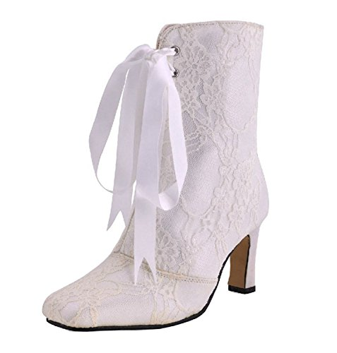 Gold Rhinestone Sparkle Womens Platform Boots (Minishion Womens Square Toe High Heel Ribbon Bridal Wedding White Lace Ankle Boots Shoes 5 M US)