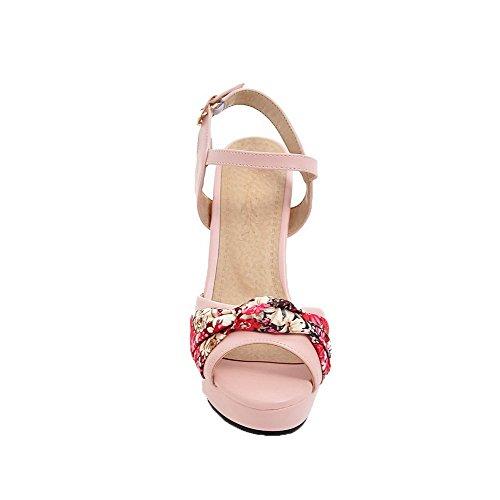 AalarDom à TSFLH005946 Femme Talon Boucle Sandales Ouverture Petite Haut Rose vrvqx85wR