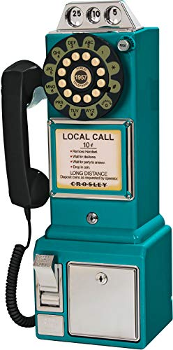 (Crosley CR56-TL 1950's Payphone with Push Button Technology, Teal)