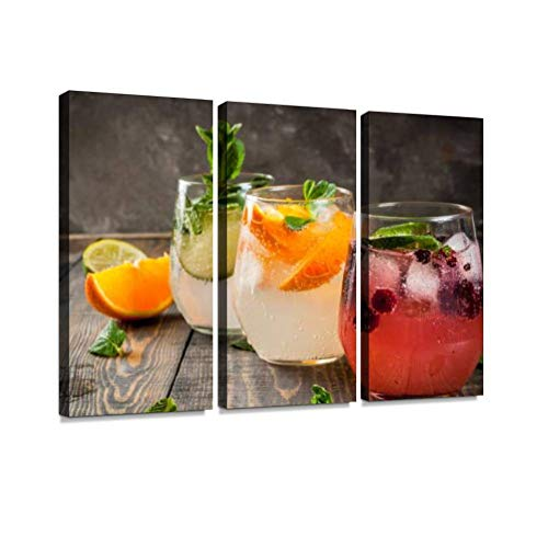 Set of Three Kinds of Gin Tonic Print On Canvas Wall Artwork Modern Photography Home Decor Unique Pattern Stretched and Framed 3 Piece