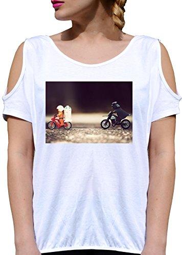T SHIRT JODE GIRL GGG27 Z1884 BIKE MOTORCYCLE WARS FUN MOVIE FASHION COOL BIANCA - WHITE XL