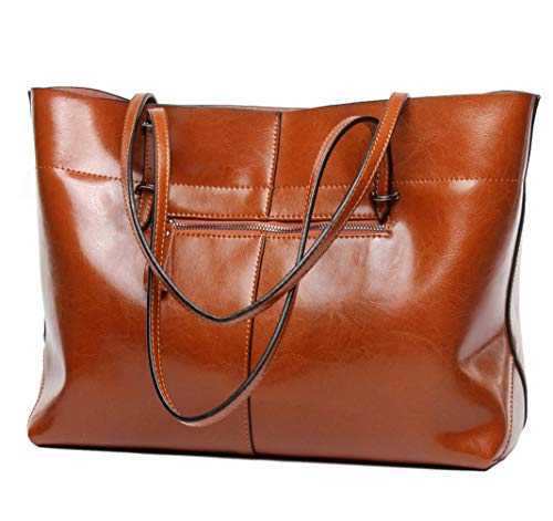 Covelin Women's Handbag Genuine Leather Tote Shoulder Bags Soft Hot Brown (Tote Retro Leather)