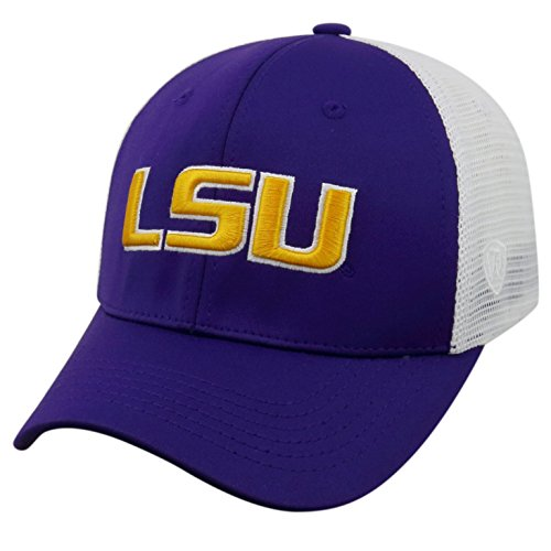 - Top of the World NCAA-Ranger Trucker Mesh-Adjustable Snapback Hat Cap-LSU Tigers-White-Adjustable