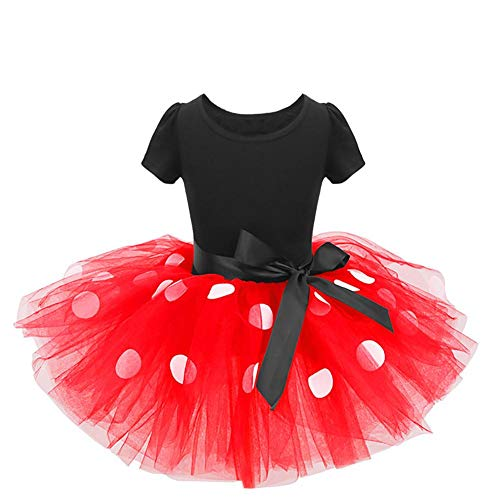 Minnie Mouse Costume Next Day Delivery (IWEMEK Baby Girls Polka Dots Princess Christmas Dress Wedding Cosplay 1st Birthday Outfits Pageant Fancy Costume Bowknot Ballet Dance Leotard Tutu Skirt with Party Ears Headband Red Polka Dot 5)