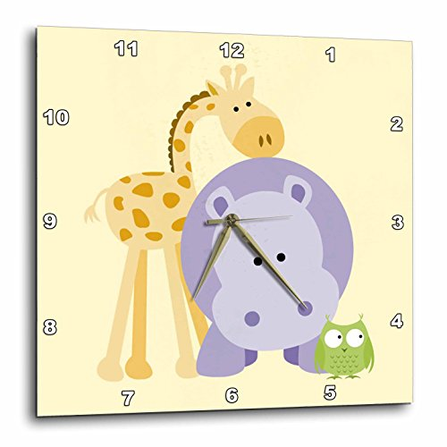 3dRose dpp_212040_3 Giraffe, Hippo and Owl Yellow Kids Ro...
