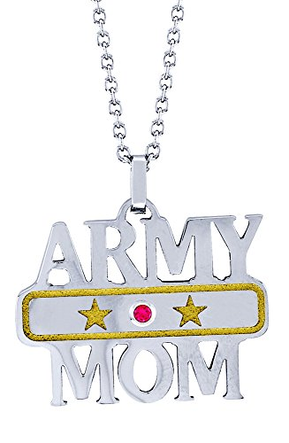 Army Mom Pendant (Army Mom Pendant With Birth Month In Stainless Steel - October)