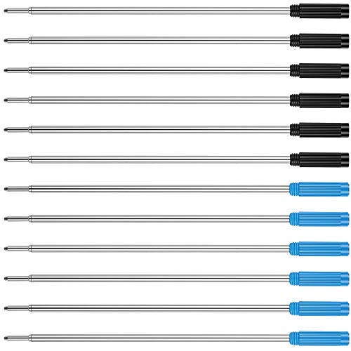 Unibene Cross Compatible Ballpoint Pen Refills 12 Pack, 1.0mm Medium Point-6 Black and 6 Blue, Smooth Writing Replaceable German Ink Pen - Black Ballpoint Refill Pen