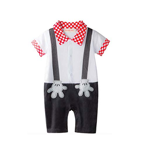 Baby Boy Mickey Mouse Onesie Costume Smart Tuxedo Romper Outfit Pageboy, White, 95(18-24 months)