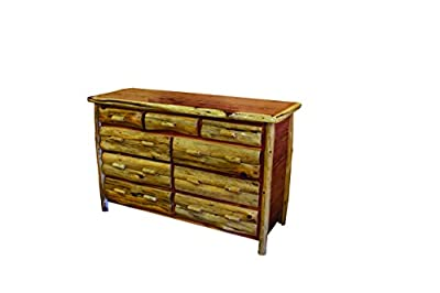 Rustic Red Cedar Log 9 DRAWER DRESSER- Amish Made in the USA