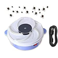 Electronic Housefly Trap, Teepao USB Powered Electric Fly Trap Device with Trapping Food, Physical Fly Catcher Pest Control Safe for Home Restaurant Hotel Office Indoor Outdoor Use