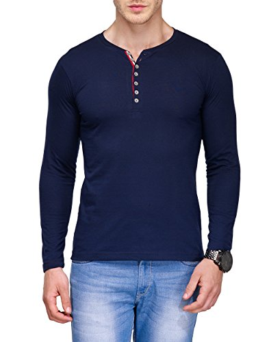 TSX Men Stylish Henley Cotton T-Shirt( TSX-HENBTON-C-XXL_Blue_XX-Large)