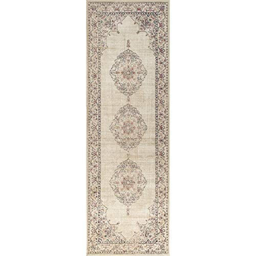 Westfield Home Lelaliah Agla Ivory Faux Silk Runner Rug - 3' x 14' from by Westfield Home