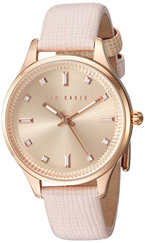 Ted Baker Women's 'Sport' Quartz Stainless Steel and Leather Dress Watch, Color:Pink (Model: 10030743)