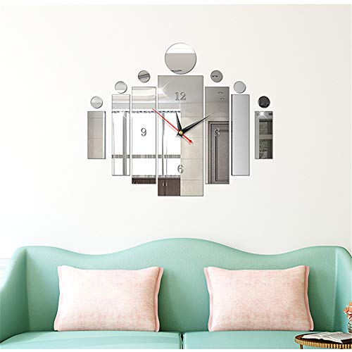 (Fashion 3D DIY Removable Mirror Clock Wall Stickers Home Decoration Geometric Decals)