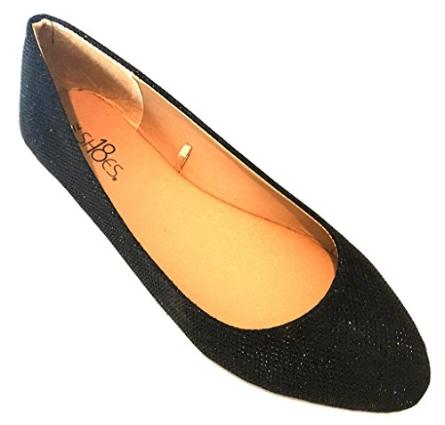 Shoes 18 Womens Ballerina Ballet Flat Shoes 8600 Black Glitter 7 ()