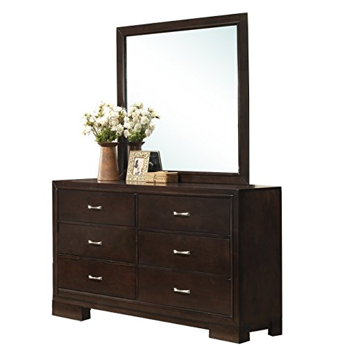 Roundhill Furniture Montana Modern Wood Dresser and Mirror, Walnut (Mirror With Dresser Tall)