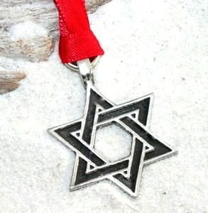 Hanukkah Christmas Ornaments.Pewter Star Of David Hanukkah Jewish Christmas Ornament And Holiday Decoration