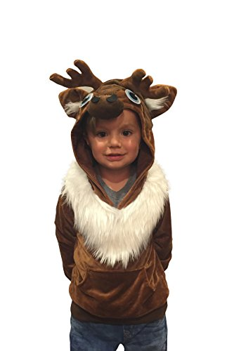 (ComfyCamper Reindeer Costume Winter Play Sweatshirt Hoodie Boys / Girls (4-6 Years))