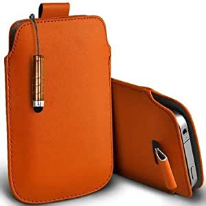 Cerhinu Shelfone Stylish Protective Leather Pull Tab Skin Case Cover For HTC CHACHA L Includes Stylus Pen Orange