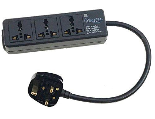 Regvolt Universal 3-outlet Power Strip for 110v-250v Worldwide World Wide Travel with Surge 13 Amps (UK Cord - 3 outlet)