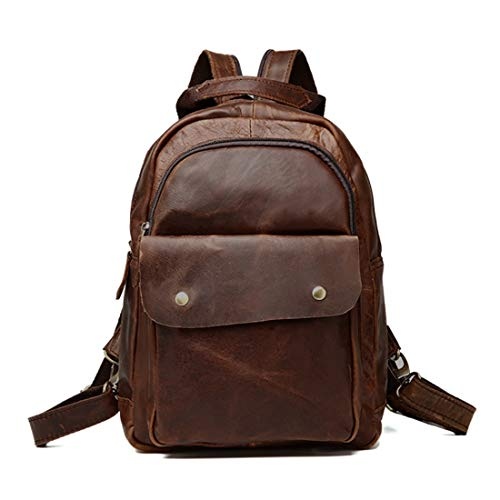 Man Leather Cioccolato Olprkgdg Computer Backpack College Marrone colore Vintage 5XO5ZwqnRf