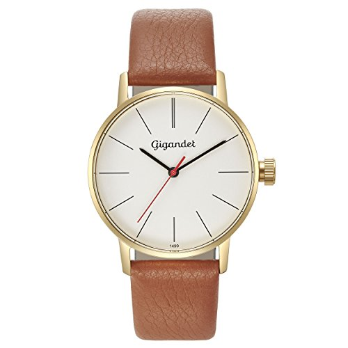 Gigandet Women's Quartz Watch Minimalism Analog Leather Strap Gold Brown G43-010