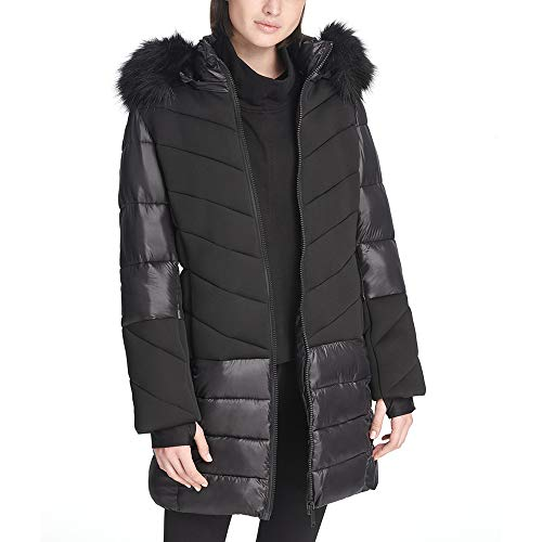 DKNY Sport Faux-Fur Hood Long Puffer Jacket Black ()
