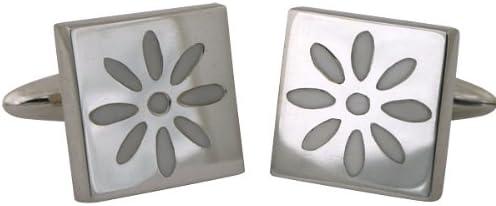ZAUNICK White Florescence Cufflinks Sterling Silver