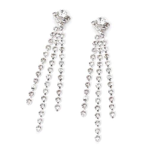 Silver Crystal Rhinestone Dangle Three Line Strand Earrings ()