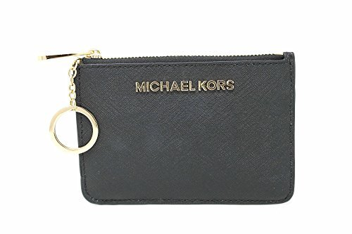 Michael Kors Saffiano Leather Jet Set Item Small TZ Coin Pouch Card Case with ID Window (Michael Kors Black Small Wallet)