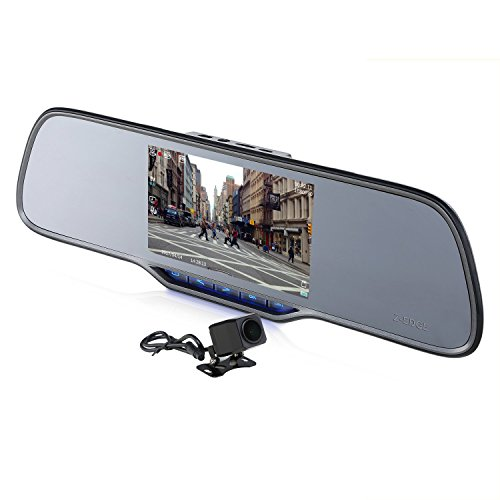 Z-EDGE Z2Pro Dual Dash Cam, 2K Ultra HD 2160P Front & 1080P Rear 5.0'' Ultra Clear IPS Rearview Mirror, Front and Rear Dash Cam, Backup Camera with 150 Degree Viewing Angle, WDR, 16GB card included by Z-EDGE
