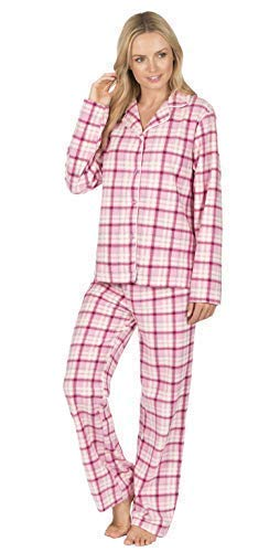 5d619d009e Best Deals Direct Ladies Check Print Long Sleeve Fleece Pyjamas Thermal  Lounge Wear  Amazon.co.uk  Clothing
