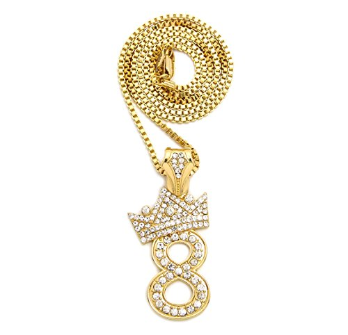 Pave Crown Tilted 1,2,3,4,5,6,7,8,9 Number Pendant 24