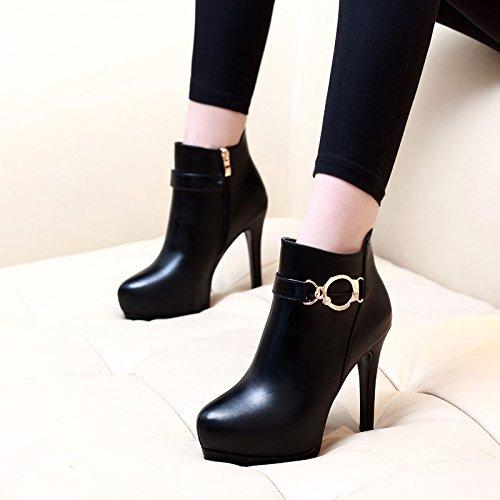KHSKX-Nuevas Mujeres Sexy Boots Impermeable A Todos Coinciden Con Fondo Grueso Y Redondo Delgada Tacones Martin Botas Botas De Mujer De Algodón black