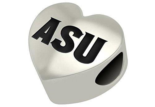 Arizona State Sun Devils Sterling Silver Heart Bead Fits Most European Style Charm Bracelet Sterling Silver Arizona State Charm