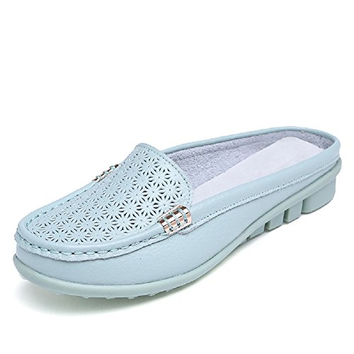 HangFan Ladies Leisure Breathable Leather Loafer Flats Half Sandals Slipper Sky Blue 0UXMDtXLMO