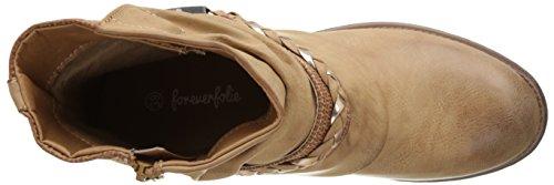 Angkorly - damen Schuhe Stiefeletten - Biker - Reitstiefel - Kavalier - vintage-stil - Geflochten - Schleife - String Tanga Blockabsatz 3 CM - Camel
