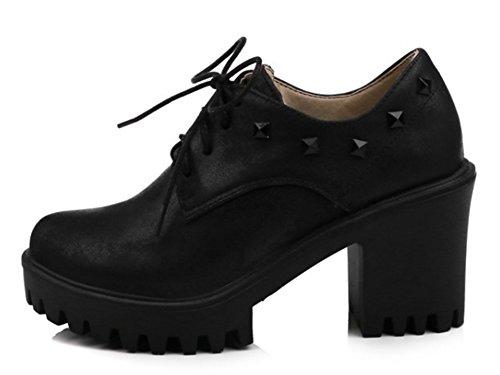 Plateforme Noir Richelieus à Easemax Lacets Femme Mode 7Twqa16F