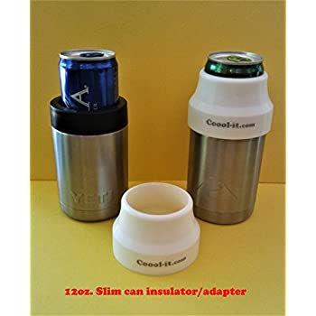 Coool-it, silicone insulator/adapter for stainless steel can coolers. Converts your Yeti type can cooler to use with 12oz slim can drinks. Fits Yeti, Cold Keeper, and Ozark Trail type can coolers.