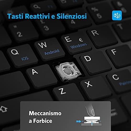 OMOTON Tastiera Bluetooth per Windows, iPad OS, Android, Mac OS, iOS, Compatibile con iPad, iPhone, Macbook, Tablet/PC Laptop e Desktop, Tastiera Mini Leggera e Portatile, Layout Italiano, Nera