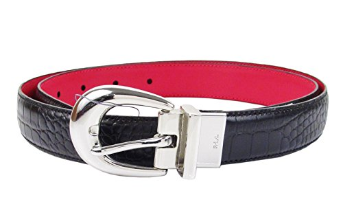 Ralph Lauren Croc (Lauren Ralph Lauren Croc Embossed Leather Reversible Belt - Red -)